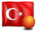The flag of Turkey with a ball Royalty Free Stock Image