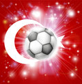 Flag turkey soccer background pyrotechnic light burst soccer football ball centre Royalty Free Stock Photos