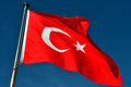 The flag of turkey turkish türk bayrağı meaning turkish is a red including a crescent with a star moving centrally in Stock Images