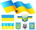 Flag of ukraine illustration map emblem Royalty Free Stock Photos