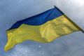 Flag ukrainian on sky background Royalty Free Stock Photos