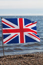 Flag of united kingdom at coast Royalty Free Stock Image