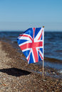 Flag of united kingdom at coast Stock Image