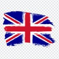 Flag of United Kingdom of Great Britain and Northern Ireland, brush stroke background. Flag Great Britain on transparent backgro