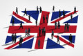 Flag of united kingdom and a group business people Royalty Free Stock Photo