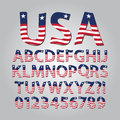 Flag of united states alphabet and digit vector set Stock Image