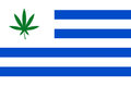 Flag of uruguay with cannabis leaf becomes first country to legalize marijuana trade Stock Image