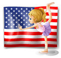 The flag of usa at the back of a dancer illustration on white background Stock Photo