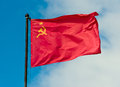 Flag of the USSR on the sky Royalty Free Stock Photo