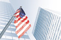 Flag view of american on blue building background Royalty Free Stock Photos
