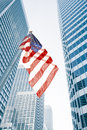 Flag view of american on blue building background Stock Photos