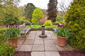 Flagged English garden. Royalty Free Stock Photo