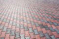 Flagging background urban walkway made of red and grey bricks surface patern Stock Photos
