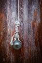 Flagpole rope mount on worn wood Royalty Free Stock Photography