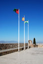 Flagpoles on malaga castle the top of gibralfaro province andalucia spain western europe Royalty Free Stock Image