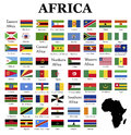 Flags of africa complete set in original colors over white background Stock Photos