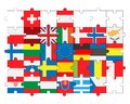 Flags of all countries, members of European Union in puzzle
