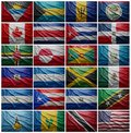 Flags of all north american countries collage waving colorful the withouh panama Stock Photography