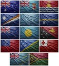 Flags of all oceania countries collage waving colorful the south american Stock Photo