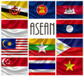 Flags of ASEAN Nations Royalty Free Stock Photo