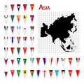 Flags of Asia Stock Images