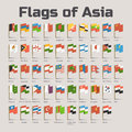 Flags of Asia in cartoon style Royalty Free Stock Photo