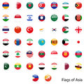 Flags asia set of circle on white background Royalty Free Stock Photo