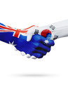 Flags Australia, South Korea countries, partnership friendship, national sports team Royalty Free Stock Photo