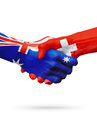Flags Australia, Switzerland countries, partnership friendship, national sports team Royalty Free Stock Photo