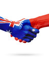 Flags Australia, Taiwan countries, partnership friendship, national sports team Royalty Free Stock Photo