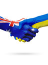 Flags Australia, Ukraine countries, partnership friendship, national sports team Royalty Free Stock Photo