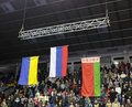 Flags during award ceremony kiev ukraine march russian ukrainian and belarussian in international tournament in artistic Royalty Free Stock Photos