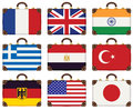 Flags bags set of travel luggage with of different countries Stock Images