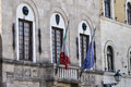 Flags and Balconies in Lucca Italy Royalty Free Stock Photo