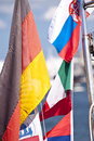 Flags and banner on a boat Stock Photo