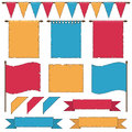 Flags and banners set of aged red yellow blue ribbons isolated on white Royalty Free Stock Photography