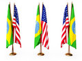 Flags of Brazil and the United State Royalty Free Stock Photo