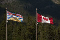 Flags of british columbia canada and in the rocky mountains Stock Image