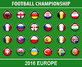 Flags buttons of football championship 2016 Royalty Free Stock Photo