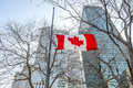 Flags of Canada  in Montreal downtown Royalty Free Stock Photo