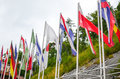 Flags colorful national at the entrance to postojna cave in slovenia Stock Photography
