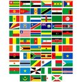 Flags of the countries of africa badges with different illustration on a white background Royalty Free Stock Image