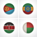 Flags of countries as fabric badges Stock Photo