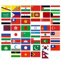 Flags of the countries of asia badges with different illustration on a white background Stock Photos
