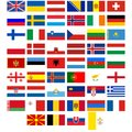 Flags of the countries of europe badges with different illustration on a white background Stock Photography