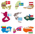 Flags and countries vector collection Royalty Free Stock Images