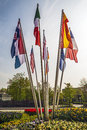 Flags countries world on flagpoles of different of the Stock Image