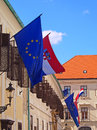 Flags of croatia and eu hanging together in marcos square zagreb upper town Stock Photo