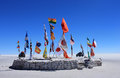 Flags in desert of Uyuni Royalty Free Stock Image
