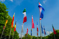 Flags of different countries the world a sea flags nations and organization Royalty Free Stock Photo